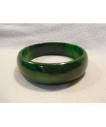 Vintage Bakelite Marbled Green and Yellow Bangle Bracelet - $21.95