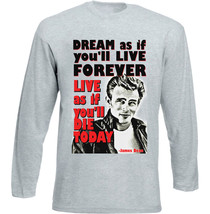 James D EAN Live Forever Quote - New Cotton Grey Tshirt - $26.88
