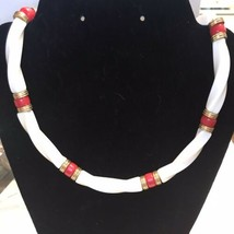 Vintage Ivory White Red Lucite Plastic Bead Choker Necklace J555 - $14.24