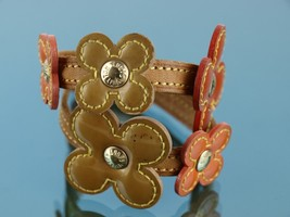 Authentic Louis Vuitton Orange, Gold Floral Bracelet Brown Leather Bangle FL1011 - $197.01