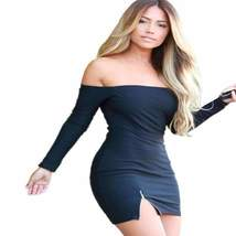 Sexy Off Shoulder Zipper Women Bodycon Dress - $24.00
