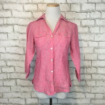 Foxcroft Women's Pink Linen Fitted Front Blend Button Front Shirt Size 2... - $17.99