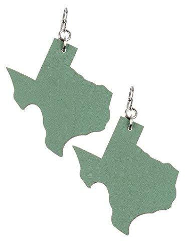 Light Weight State of Texas Dangle Earrings Faux Leather (Green)
