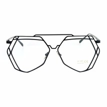 Womens Clear Lens Glasses Geometric Aviator Metal Frame UV 400 - $10.95