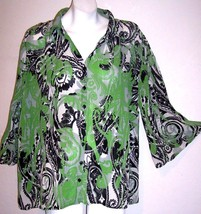 Dressbarn Top 1X Silky Green Black Paisley Shirt Blouse Plus Size Bust 5... - $14.85