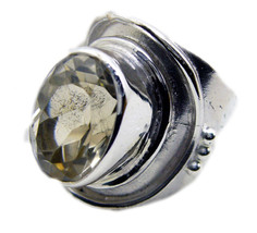 handsome Lemon Quartz 925 Sterling Silver Yellow Ring genuine regular US - $49.49