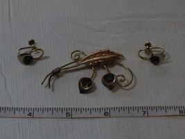 Van Dell 1/20 12KT GF brooch pin clip screw earring set RARE vintage gol... - $79.19