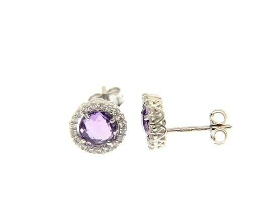 18K WHITE GOLD EARRINGS CUSHION ROUND PURPLE AMETHYST AND CUBIC ZIRCONIA FRAME