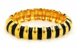 Kenneth Jay Lane Bracelet  Designer Vintage Black Enamel and Gold  Zebra... - $39.00