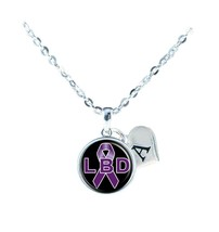 Custom Lewy Body Dementia Awareness Ribbon Silver Necklace Jewelry Initial Gift - $13.94
