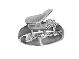 Grand Piano Player who loves playing music Sterling Silver 925 Ring Jewe... - $30.63
