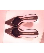 Womens 7.5 M Tommy Hilfiger Black Leather Slides Heels Buckle Sexy Mules - $19.97