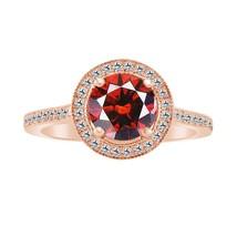 1.59 Ct Red Garnet 10k Rose Gold Fn 925 Halo Engagement Ring - $79.99