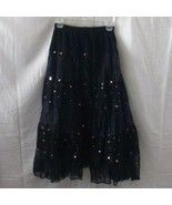 New full long black cotton skirt with lace and ... - $11.25