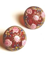 Red Wedding Cake Glass Earrings Murano Lampwork Italy - $39.95