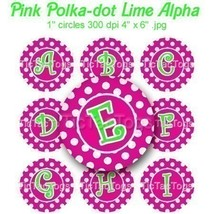 Pink Polka dot Lime Alpha Bottle Cap Digital Images Set 1 Inch Circle Al... - $2.00