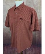 Cabela's Ultra Dry Pearl Snap Outdoors Short Sleeve Orange Check Shirt M... - $19.79
