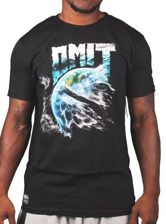 Omit Mens Black Mother Earth Nature Storm Water Wind T-Shirt NWT