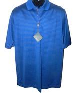 NWT BOBBY JONES M golf casual polo shirt striped sapphire blue pinstripe... - $60.13