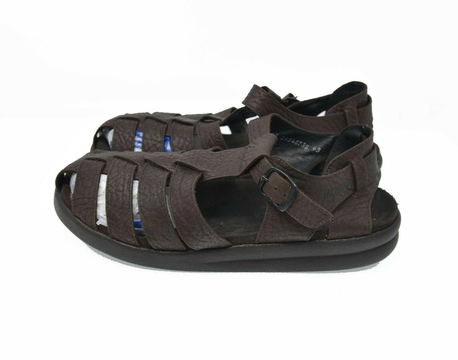 MEPHISTO Men's Sz 9 EU 43 Brown Pebbled Leather Fisherman Strap Sandals