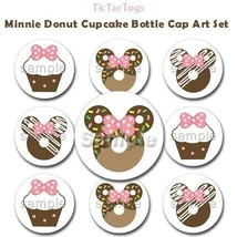 Mouse Donut Cupcake Bottle Cap Digital Images 1 Inch Circles Pink Brown ... - $2.00