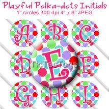 Playful Polka dots Alphabet Alpha Bottle Cap 1 Inch Circles Digital Imag... - $2.00
