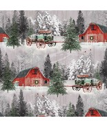 Holiday Wishes by Henry Glass-BTY-Horse Drawn Wagon-Red Barn-Field-Snow - $10.95
