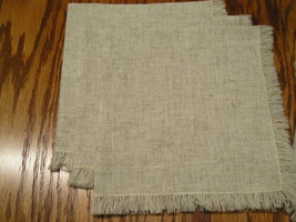 """4 Ecru Cloth Napkins With Fringe Measure 16"""" By 16"""" Inches. - $9.99"""