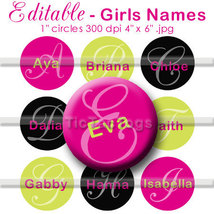 Editable - Girl's Names Bottle Cap Digital Images 1 Inch Circle Black Pi... - $3.00