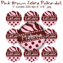 "Editable - Pink Brown Zebra Polka dot Bottle Cap Images Digital Set 1"" C... - $3.00"