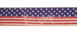 Melrose Floral Ribbon - Natural Linen Distressed America Flag 2.5in x 10yd - $13.95