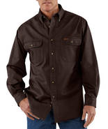 size 2xl regular CARHARTT SANDSTONE TWILL WORK SHIRT STYLE S09 DK BROWN ... - $35.99
