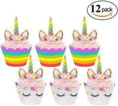 Unicorn Cupcake Toppers And Wrappers Double Sided Kids Party Cake Decor... - €12,75 EUR