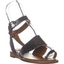 Franco Sarto Gracious Flats Sandals, Pewter Leather, 7 US / 37 EU - $32.63