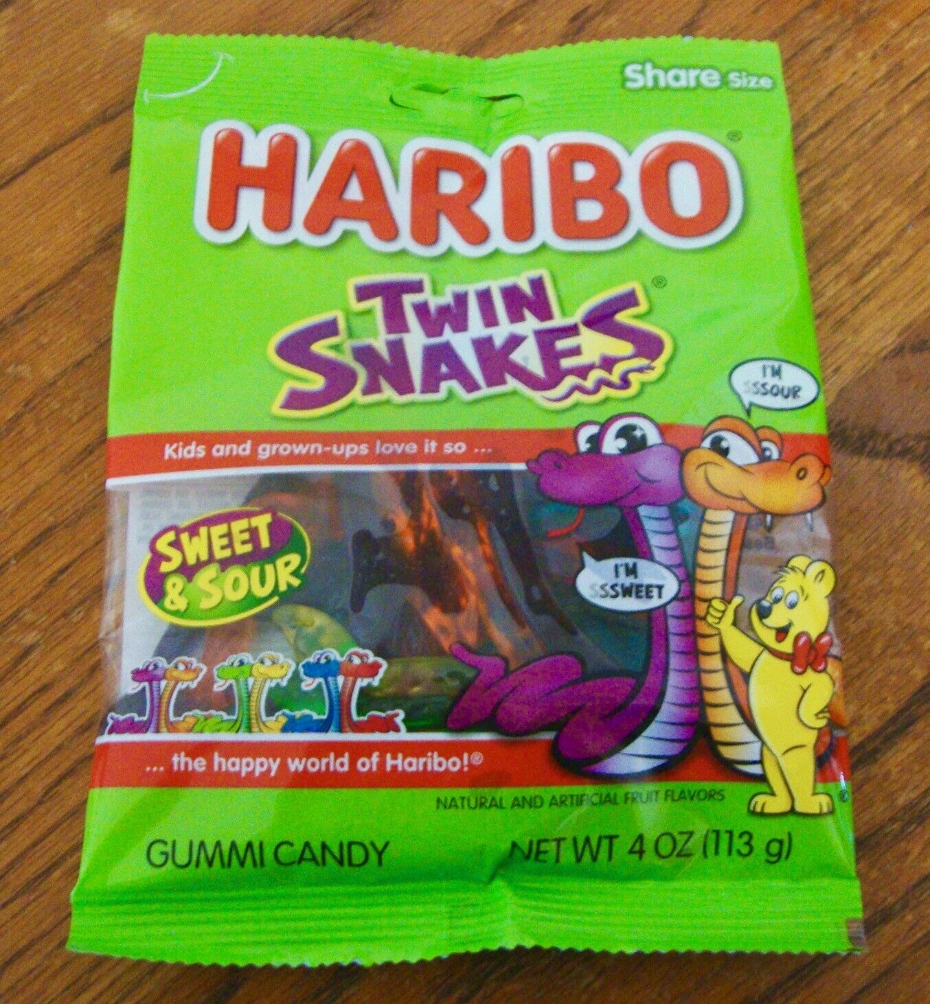 HARIBO Twin Snakes Gummi Candy Sweet Sour 6 Flavors Chewy Fat Free (1) 4 oz pkg