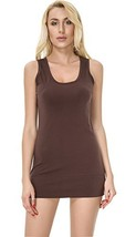 Moxeay Womens Extra Long Stretch Cotton Tank Top Large, Coffee - $23.01