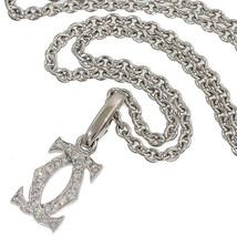 Cartier 2C diamond charm necklace K18WG Free Shipping 100% Authentic Japan bag - $2,484.99