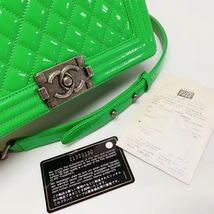 SALE*** Authentic Chanel Boy Medium Patent Green Flap Bag with RECEIPT  image 6