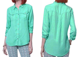 Anthropologie Western Equestrian Shirt Top Blouse 4 Small Snaps Yoke Frnt + Back - $32.20