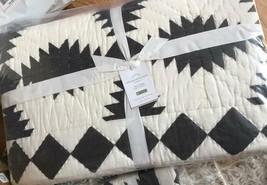 Pottery Barn Tallie Geo Quilt Set Ivory Charcoal King 2 Standard Shams Farmhouse - $348.00