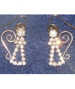 "Goldtone and Rhinestone 1"" Angel Earrings for Pierced Ears  NWT - $10.99"
