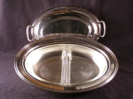 Silver Plated Oval Covered Serving Dish With Glass Divided Insert - (sku#1356) - $32.99