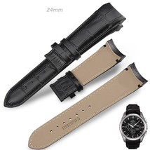 24mm Black Curved Leather Watch Strap Fits Tissot & Other Curvedend Watches - $38.48