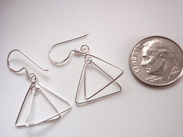 Double Triangles Hang at Right Angles to Each Other Dangle Earrings Ster... - $10.88
