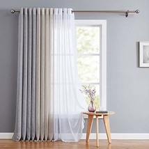 "Fragrantex Flax Linen Sheer Window Curtains for Living Room Bedroom 95"" ... - $18.49"