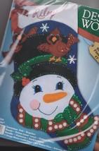 Snowman & Cardinals Christmas Holiday Felt Stocking Kit Design Works 5009 - $19.95