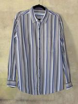 Men's Tasso Elba Dress Shirt Blue Grey White Striped Long Sleeve XXL 18 Cotton - $13.36