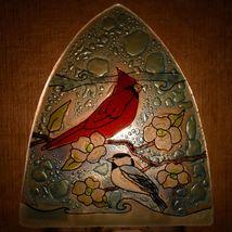 Fused Art Glass Cardinal Chickadee Bird Nightlight Night Light Handmade Ecuador image 8