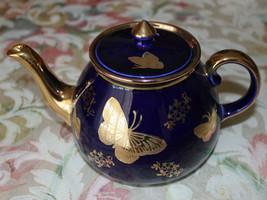 Rare Vintage Cobalt Navy Blue Butterfly Pattern Gold Leaf Teapot - $346.00