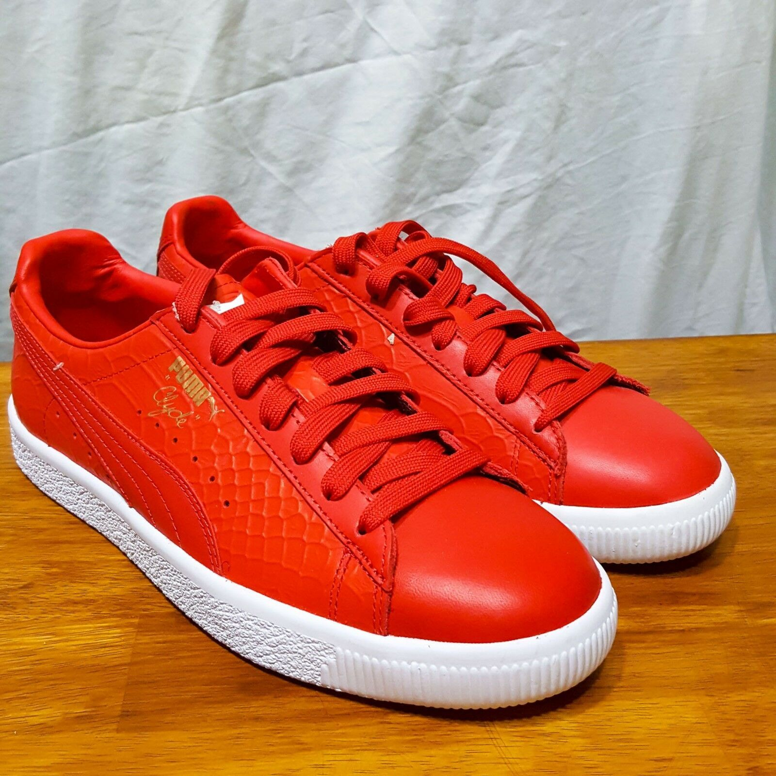PUMA Clyde Dressed Snakeskin Red 361704-03 sz 8.5 Animal Pack Croc Premium